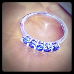 Sterling Silver Tanzanite Round Five Stone Ring